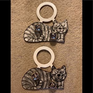 Bells - Leather Tabby Cat Doorknob Hangers